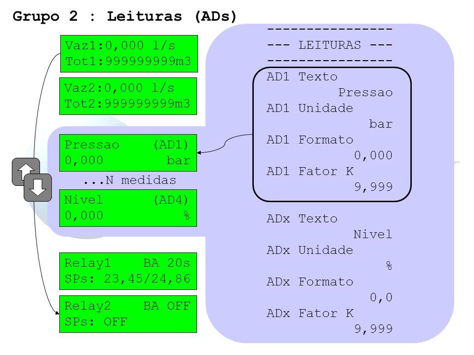 Vaz1:0,000 l/s Tot1:999999999m3 Vaz2:0,000 l/s Tot2:999999999m3...N medidas ---------------- --- LEITURAS --- ---------------- AD1 Texto Pressao AD1 U