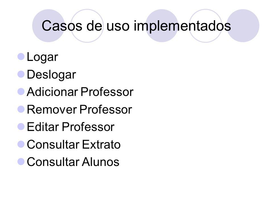 Casos de uso implementados Logar Deslogar Adicionar Professor Remover Professor Editar Professor Consultar Extrato Consultar Alunos