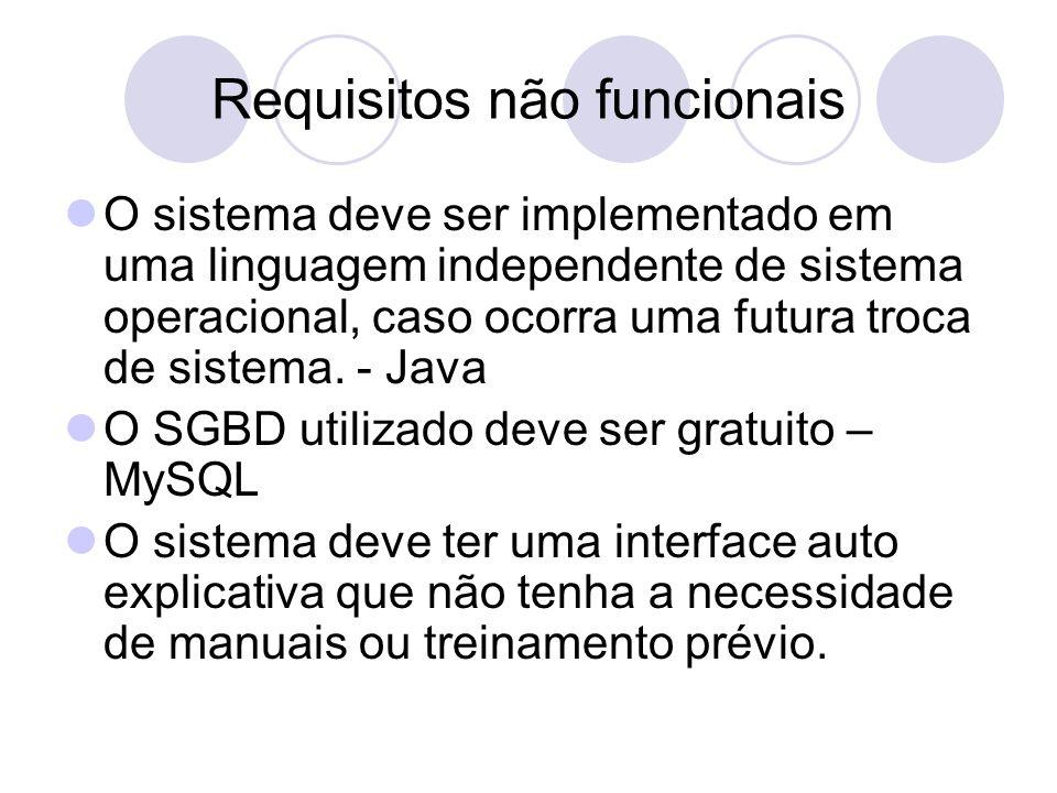 Requisitos não funcionais O sistema deve ser implementado em uma linguagem independente de sistema operacional, caso ocorra uma futura troca de sistema.