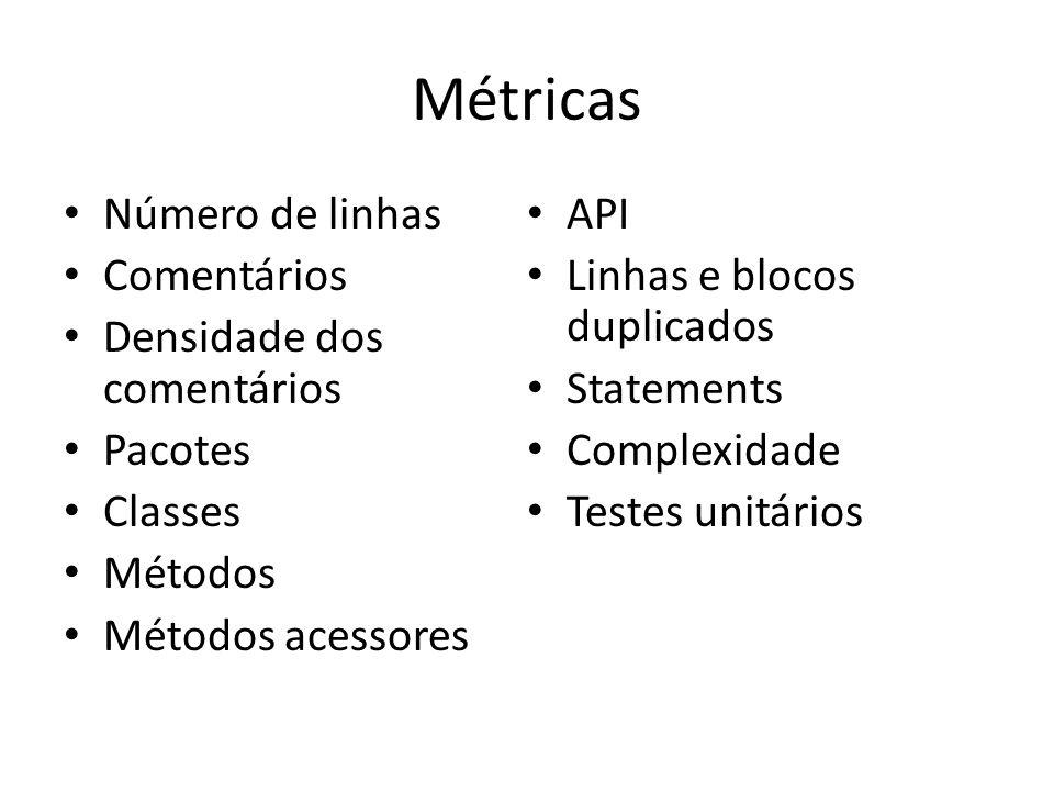 Métricas Número de linhas Comentários Densidade dos comentários Pacotes Classes Métodos Métodos acessores API Linhas e blocos duplicados Statements Co