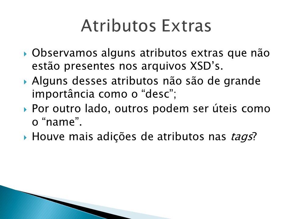 Observamos alguns atributos extras que não estão presentes nos arquivos XSDs. Alguns desses atributos não são de grande importância como o desc; Por o