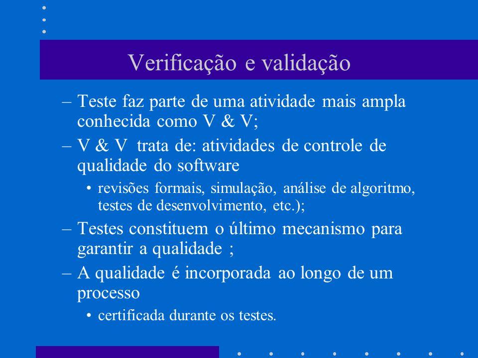 Verificação e validação –Verificação: Estamos produzindo o produto de forma correta.
