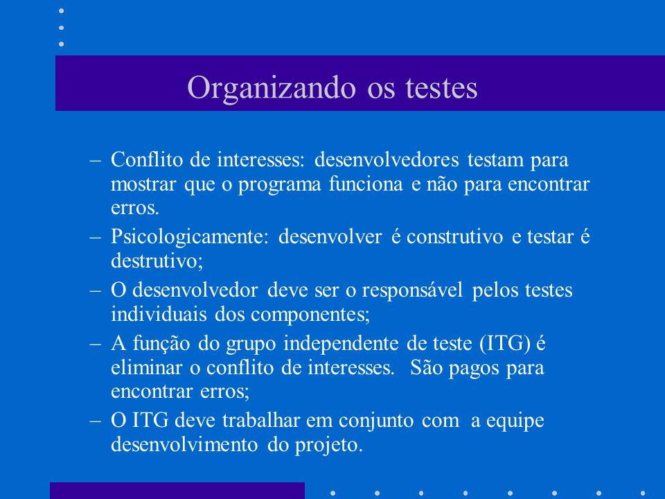 Uma Estratégia –4 etapas executadas sequencialmente: Testes de unidade: –Foco em cada componente individual, garantindo que a função apropriada de cada componente está sendo realizada; Testes de integração: – Foco na verificação e construção do programa, resultado da integração dos componentes; Testes de validação: –Foco na validação dos requisitos funcionais, de comportamento, e de desempenho; Testes de sistema: –Uma vez validado, o software deve ser combinado com outros elementos (hardware, pessoas, dados).