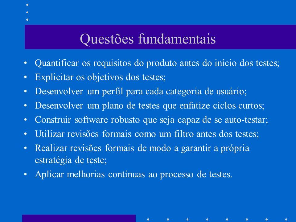 Testes de Unidade (1) –Tem como foco a menor unidade do software (componente ou módulo); –testes caixa branca podem ser executados em paralelo para vários módulos; –Tipos de testes: Interface do módulo (fluxo de informação que entra e sai da unidade); Dados locais devem manter a sua integridade durante toda a execução do algoritmo; Condições de contorno são testadas para garantir a operação do módulo dentro dos limites e restrições estabelecidas; Todos os caminhos possíveis na estrutura de controle devem ser executados ao menos uma vez; Os tratamentos de erros devem ser testados.