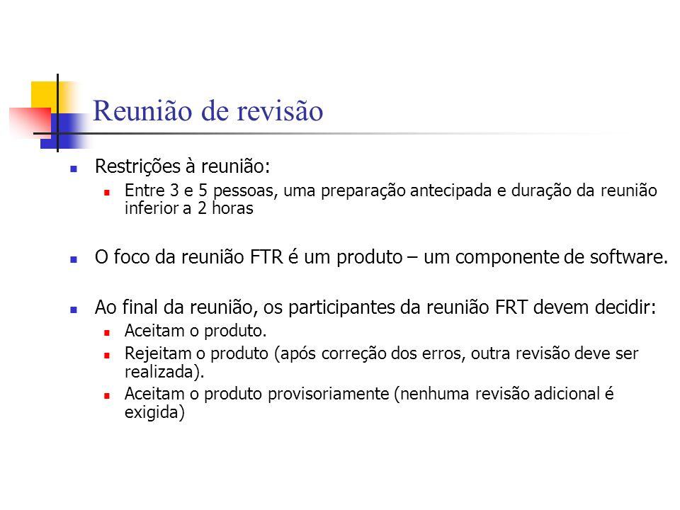 Reunião de revisão Restrições à reunião: Entre 3 e 5 pessoas, uma preparação antecipada e duração da reunião inferior a 2 horas O foco da reunião FTR