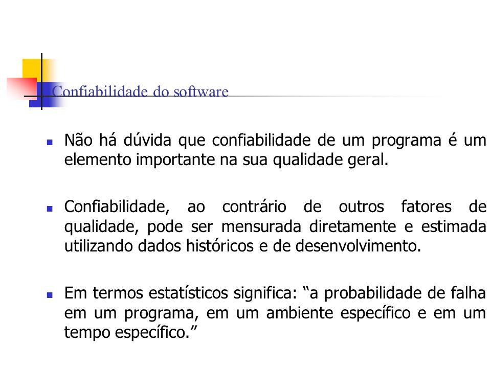 Confiabilidade do software Não há dúvida que confiabilidade de um programa é um elemento importante na sua qualidade geral. Confiabilidade, ao contrár