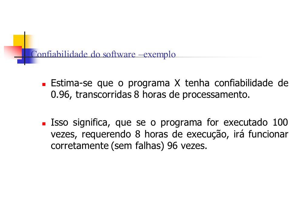 Confiabilidade do software –exemplo Estima-se que o programa X tenha confiabilidade de 0.96, transcorridas 8 horas de processamento. Isso significa, q