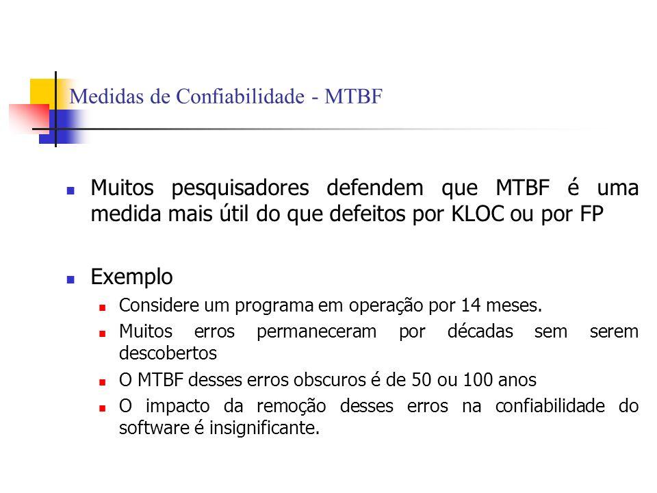 Medidas de Confiabilidade - MTBF Muitos pesquisadores defendem que MTBF é uma medida mais útil do que defeitos por KLOC ou por FP Exemplo Considere um