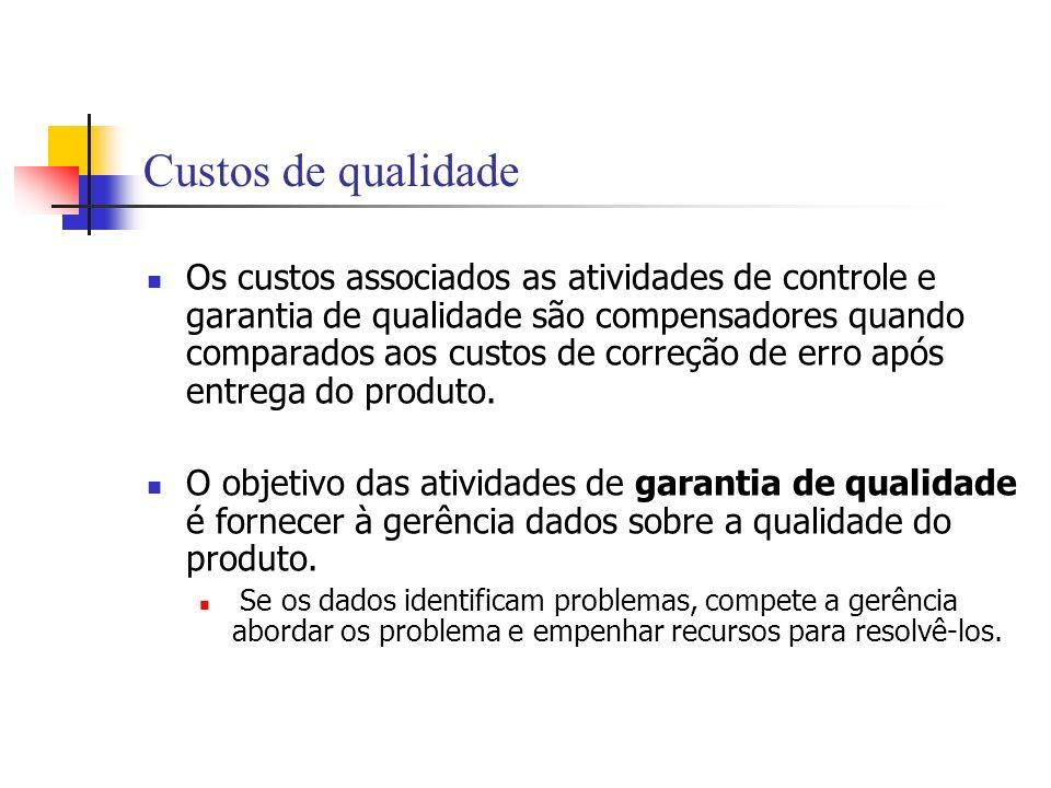 Custos de qualidade Os custos associados as atividades de controle e garantia de qualidade são compensadores quando comparados aos custos de correção
