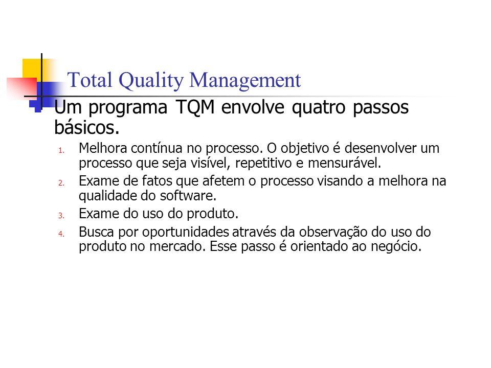 Total Quality Management Um programa TQM envolve quatro passos básicos. 1. Melhora contínua no processo. O objetivo é desenvolver um processo que seja