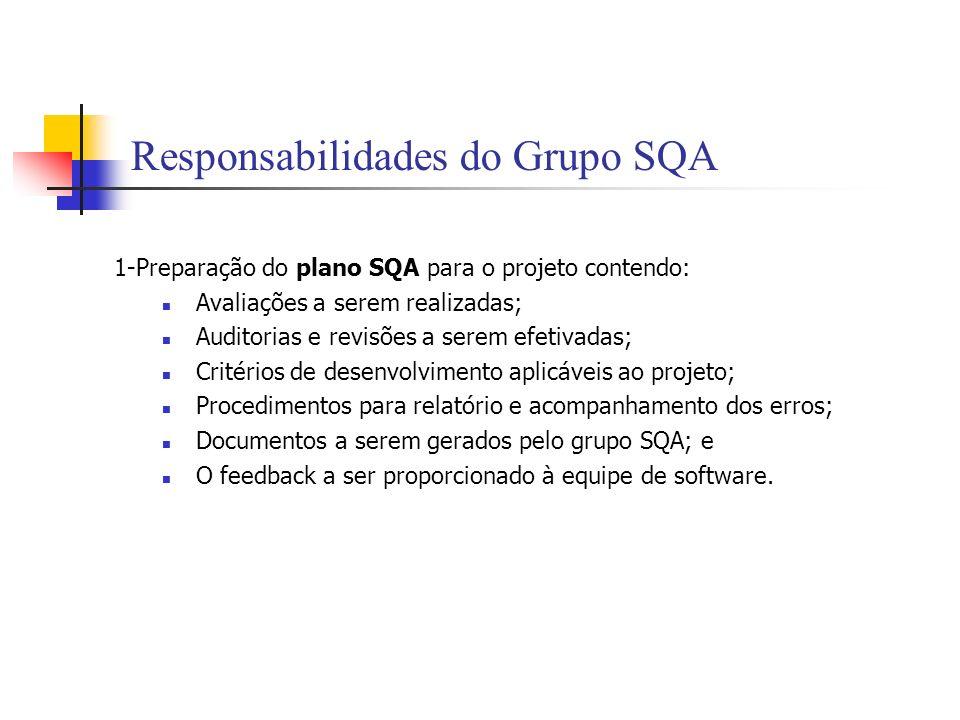 Responsabilidades do Grupo SQA 1-Preparação do plano SQA para o projeto contendo: Avaliações a serem realizadas; Auditorias e revisões a serem efetiva