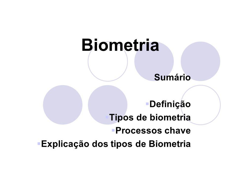 Biometria Sumário Definição Tipos de biometria Processos chave Explicação dos tipos de Biometria