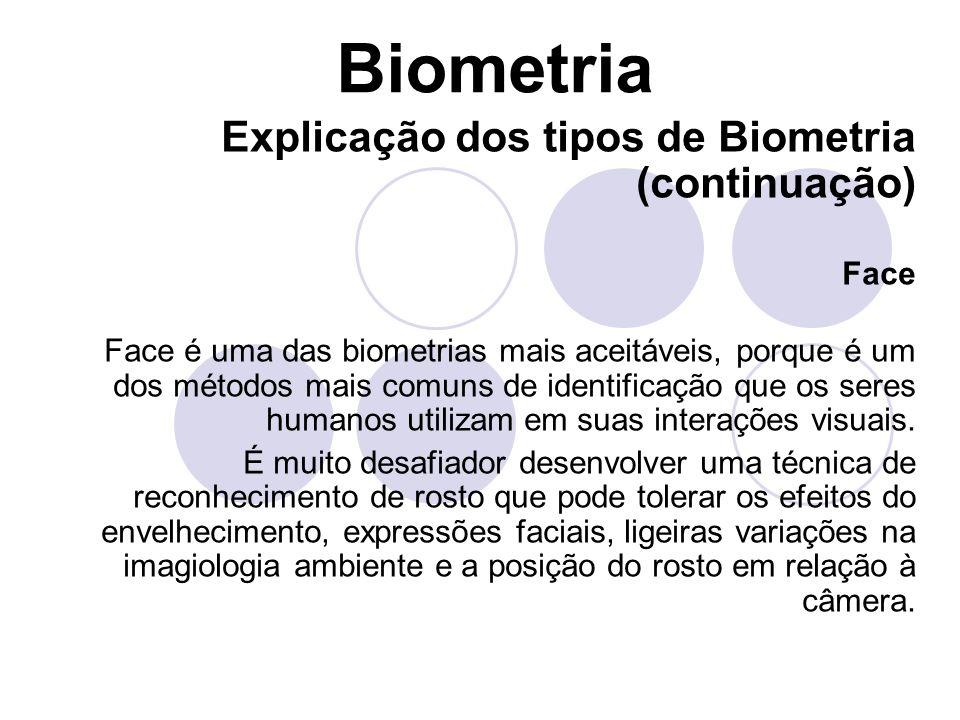 Biometria Explicação dos tipos de Biometria (continuação) Face Face é uma das biometrias mais aceitáveis, porque é um dos métodos mais comuns de ident