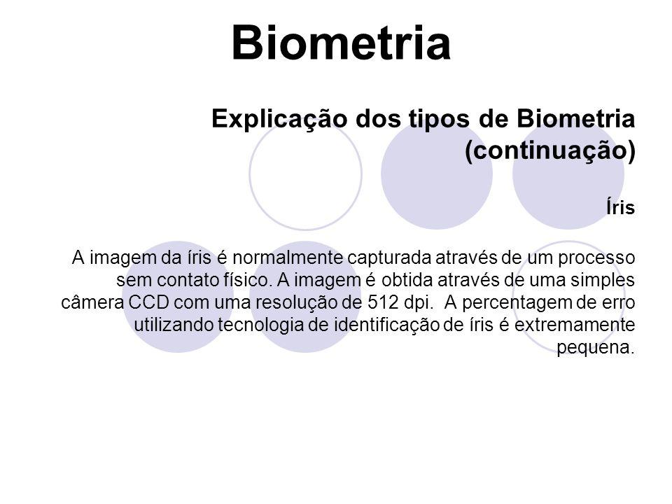 Biometria Explicação dos tipos de Biometria (continuação) Íris A imagem da íris é normalmente capturada através de um processo sem contato físico. A i