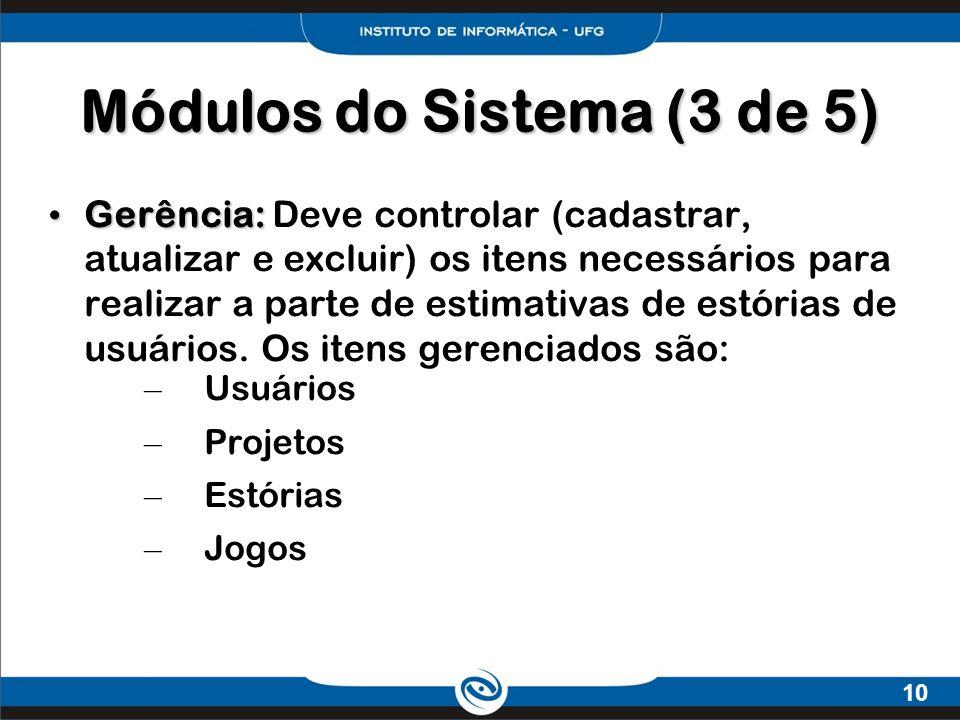 10 Gerência: Gerência: Deve controlar (cadastrar, atualizar e excluir) os itens necessários para realizar a parte de estimativas de estórias de usuári