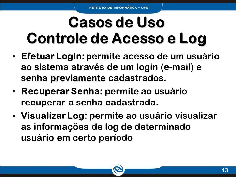 13 previamente Efetuar Login: permite acesso de um usuário ao sistema através de um login (e-mail) e senha previamente cadastrados. Recuperar Senha: p