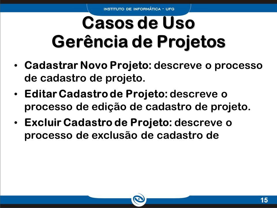15 Cadastrar Novo Projeto: descreve o processo de cadastro de projeto. Editar Cadastro de Projeto: descreve o processo de edição de cadastro de projet