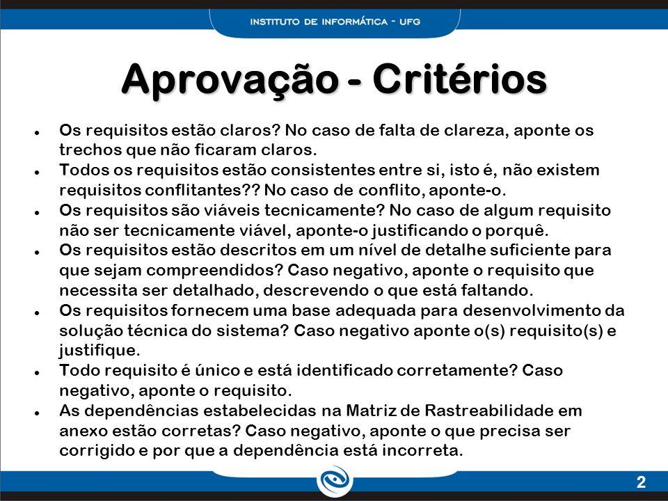 2 Aprovação - Critérios Os requisitos estão claros? No caso de falta de clareza, aponte os trechos que não ficaram claros. Todos os requisitos estão c