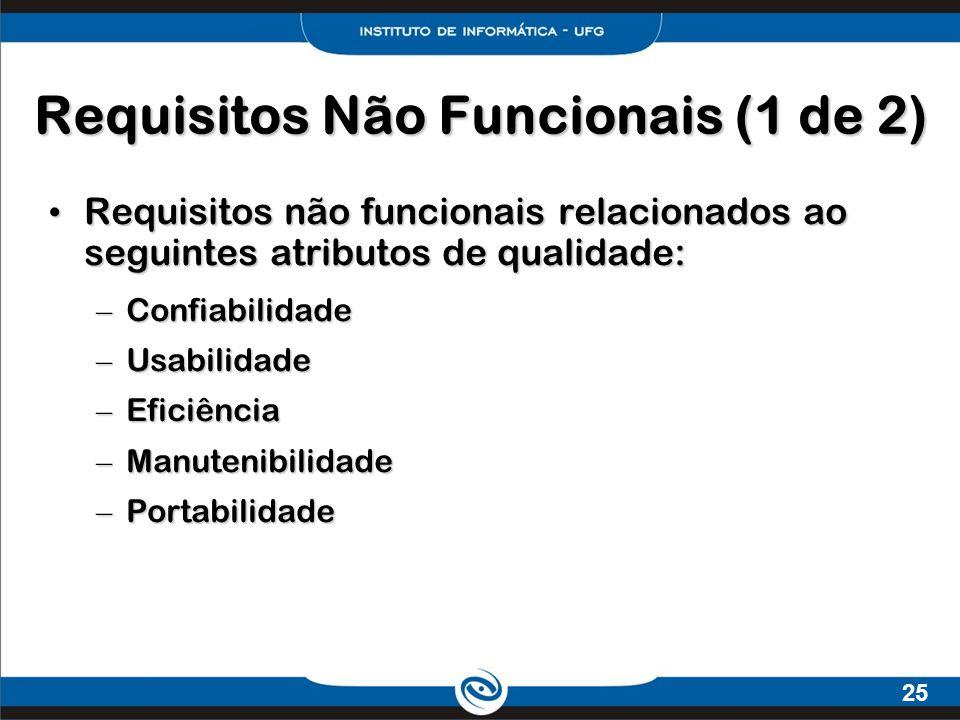 25 Requisitos Não Funcionais (1 de 2) Requisitos não funcionais relacionados ao seguintes atributos de qualidade: Requisitos não funcionais relacionad