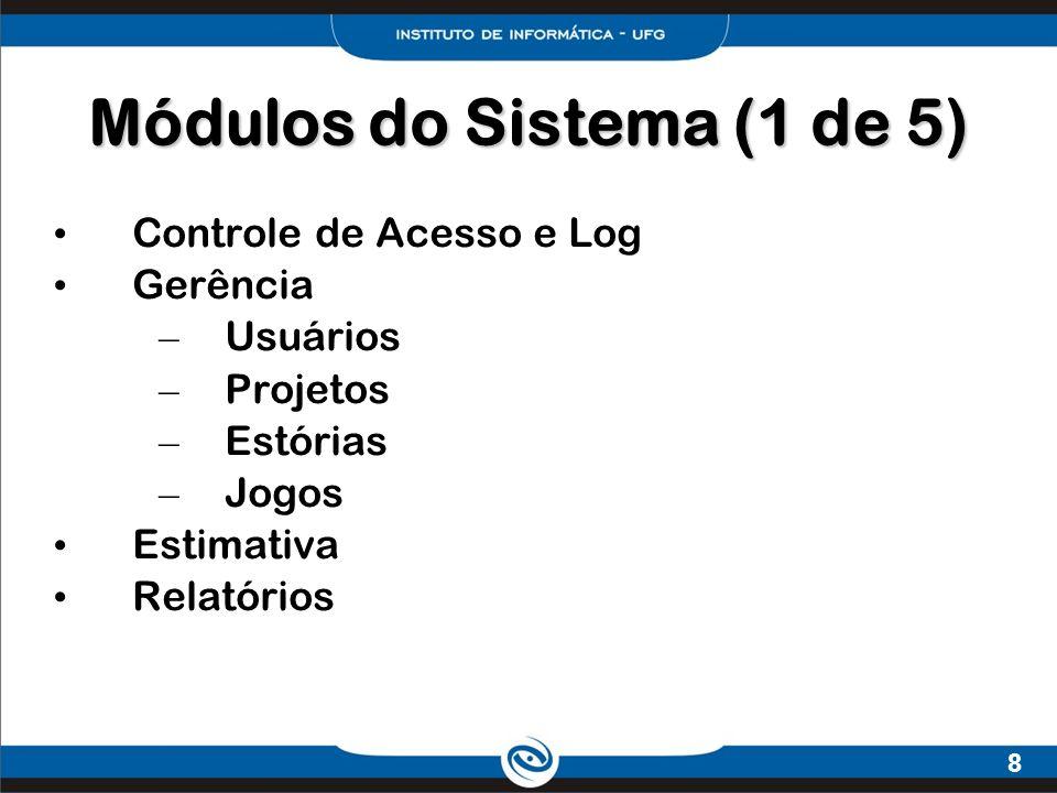 8 Módulos do Sistema (1 de 5) Controle de Acesso e Log Gerência – Usuários – Projetos – Estórias – Jogos Estimativa Relatórios