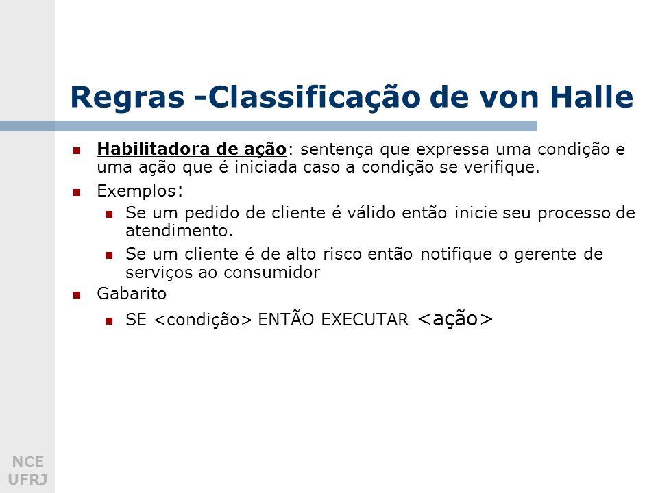 NCE UFRJ Regras -Classificação de von Halle Habilitadora de ação: sentença que expressa uma condição e uma ação que é iniciada caso a condição se verifique.