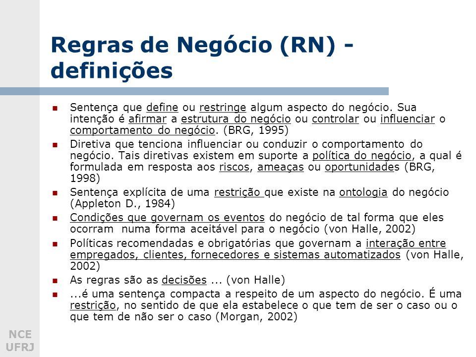 NCE UFRJ Regras de Negócio (RN) - definições Sentença que define ou restringe algum aspecto do negócio. Sua intenção é afirmar a estrutura do negócio