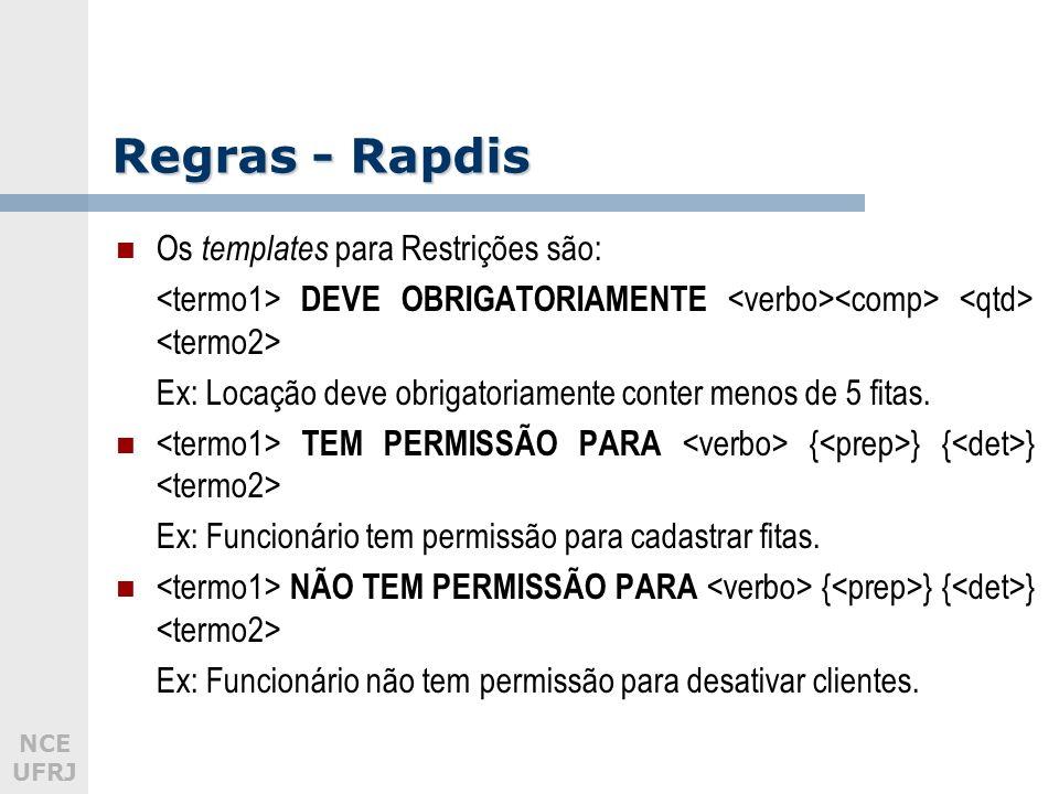 NCE UFRJ Regras - Rapdis Os templates para Restrições são: DEVE OBRIGATORIAMENTE Ex: Locação deve obrigatoriamente conter menos de 5 fitas. TEM PERMIS
