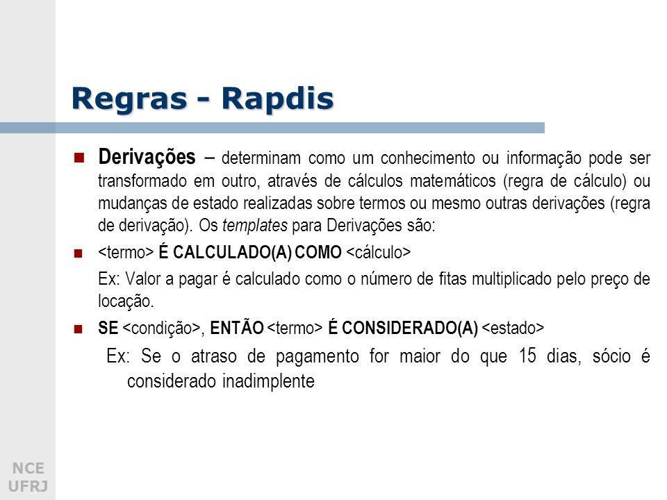 NCE UFRJ Regras - Rapdis Derivações – determinam como um conhecimento ou informação pode ser transformado em outro, através de cálculos matemáticos (regra de cálculo) ou mudanças de estado realizadas sobre termos ou mesmo outras derivações (regra de derivação).
