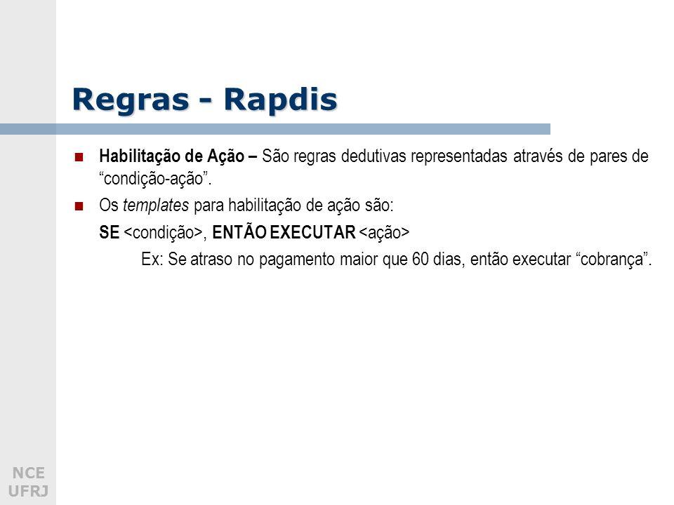 NCE UFRJ Regras - Rapdis Habilitação de Ação – São regras dedutivas representadas através de pares de condição-ação. Os templates para habilitação de