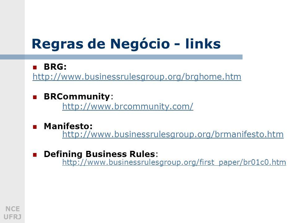 NCE UFRJ Regras de Negócio - links BRG: http://www.businessrulesgroup.org/brghome.htm BRCommunity: http://www.brcommunity.com/ Manifesto: http://www.businessrulesgroup.org/brmanifesto.htm http://www.businessrulesgroup.org/brmanifesto.htm Defining Business Rules: http://www.businessrulesgroup.org/first_paper/br01c0.htm http://www.businessrulesgroup.org/first_paper/br01c0.htm