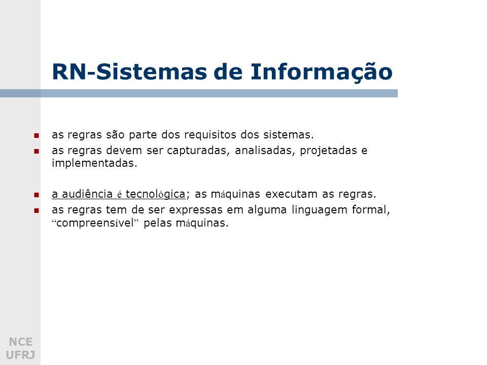 NCE UFRJ RN - Sistemas de Informação as regras são parte dos requisitos dos sistemas. as regras devem ser capturadas, analisadas, projetadas e impleme