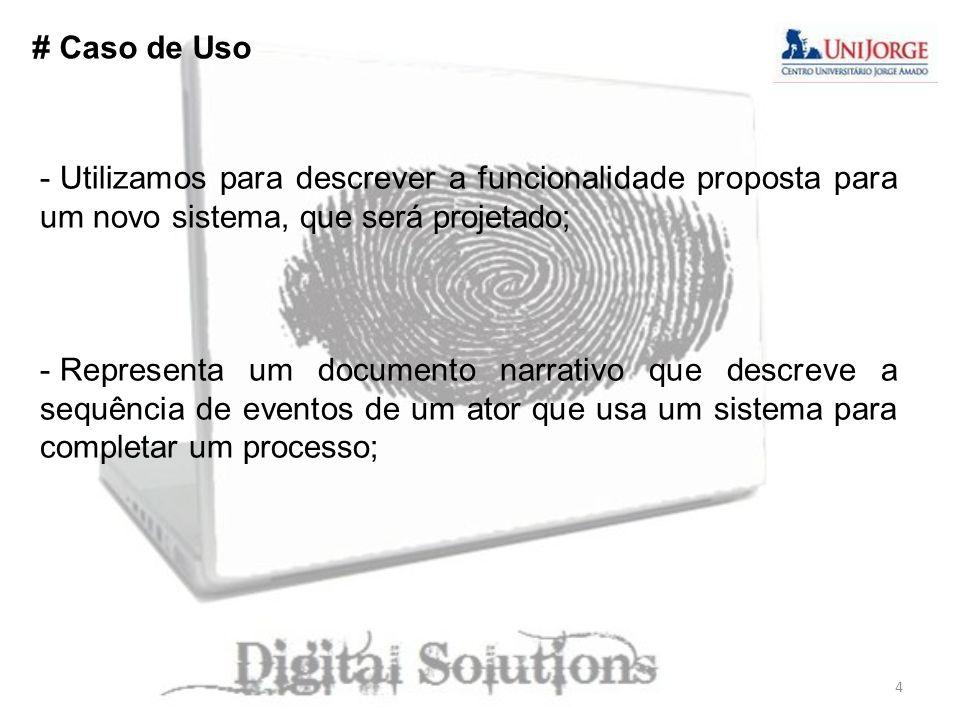 # Caso de Uso - Utilizamos para descrever a funcionalidade proposta para um novo sistema, que será projetado; - Representa um documento narrativo que