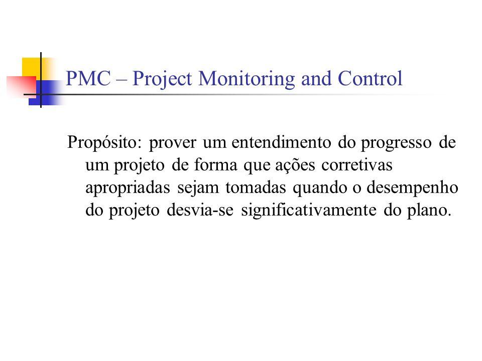 PMC – Project Monitoring and Control Propósito: prover um entendimento do progresso de um projeto de forma que ações corretivas apropriadas sejam tomadas quando o desempenho do projeto desvia-se significativamente do plano.