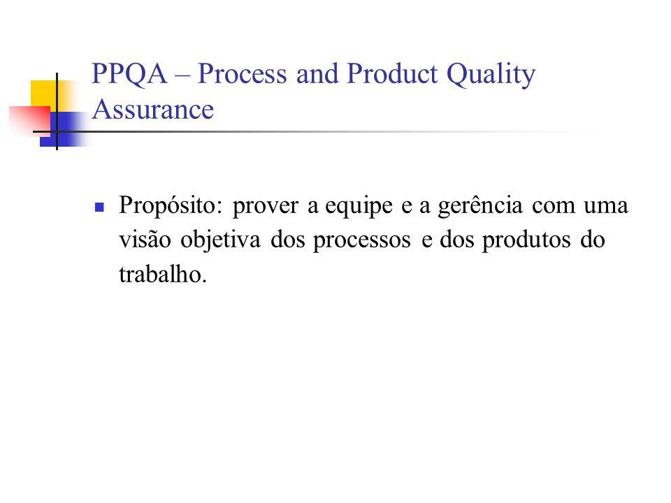 PPQA – Process and Product Quality Assurance Propósito: prover a equipe e a gerência com uma visão objetiva dos processos e dos produtos do trabalho.