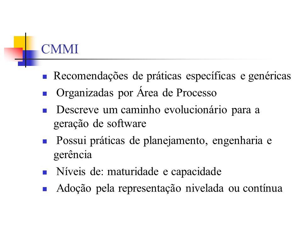 CMMI Recomendações de práticas específicas e genéricas Organizadas por Área de Processo Descreve um caminho evolucionário para a geração de software P