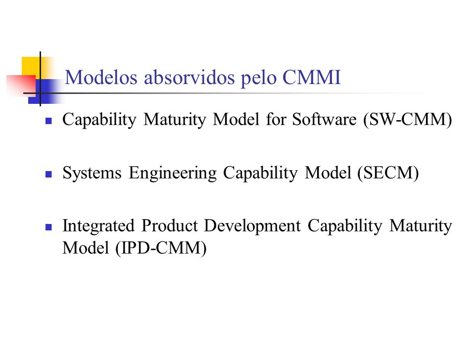 Modelos absorvidos pelo CMMI Capability Maturity Model for Software (SW-CMM) Systems Engineering Capability Model (SECM) Integrated Product Developmen