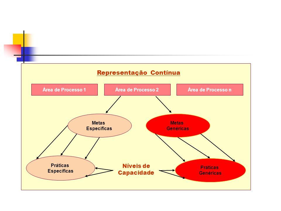 Área de Processo 1Área de Processo 2Área de Processo n Metas Específicas Metas Genéricas Práticas Específicas Práticas Genéricas Níveis de Capacidade Representação Contínua