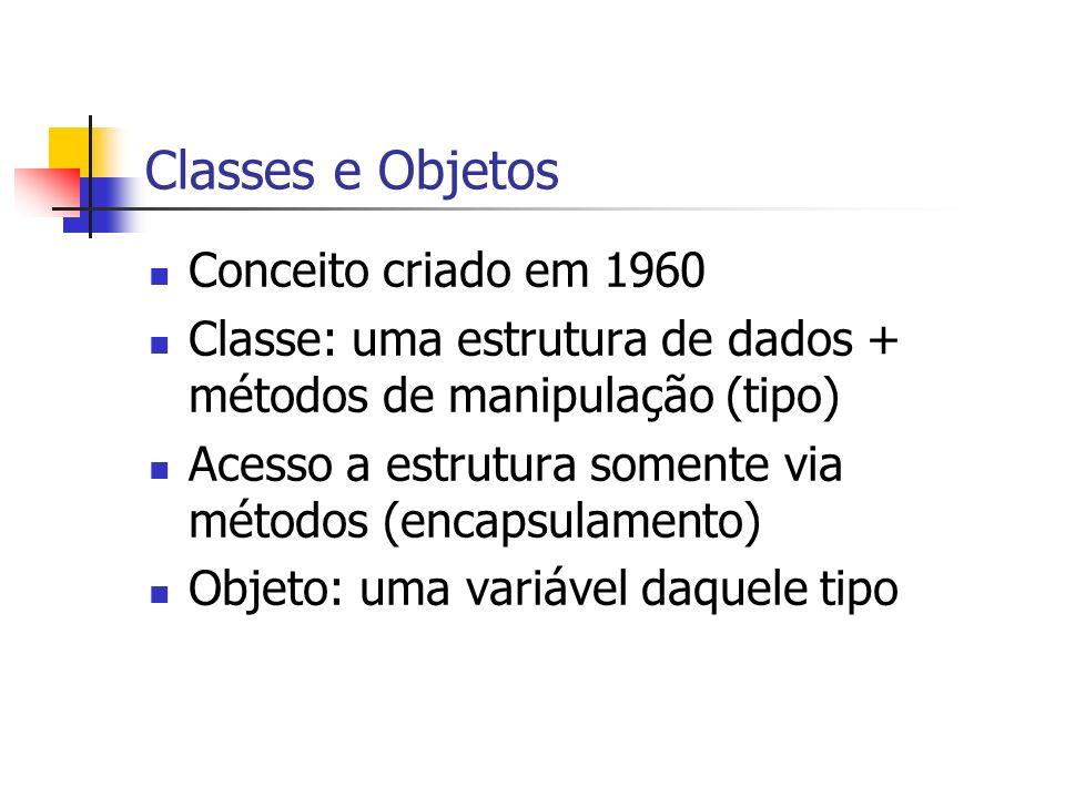 Classes e Objetos Conceito criado em 1960 Classe: uma estrutura de dados + métodos de manipulação (tipo) Acesso a estrutura somente via métodos (encap