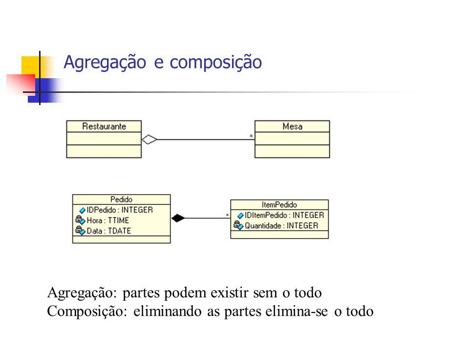 Agregação e composição Agregação: partes podem existir sem o todo Composição: eliminando as partes elimina-se o todo