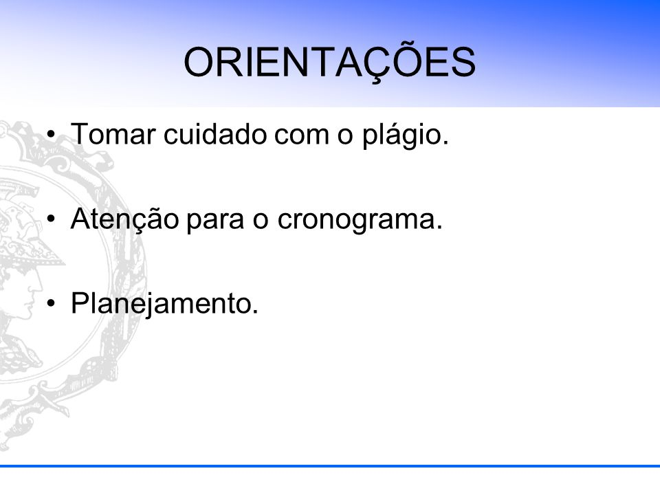 CURSO DE MONOGRAFIA As aulas serão ministradas pelo Prof.