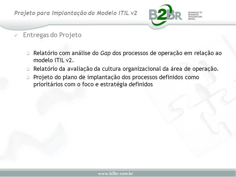 Entregas do Projeto Relatório com análise do Gap dos processos de operação em relação ao modelo ITIL v2. Relatório da avaliação da cultura organizacio