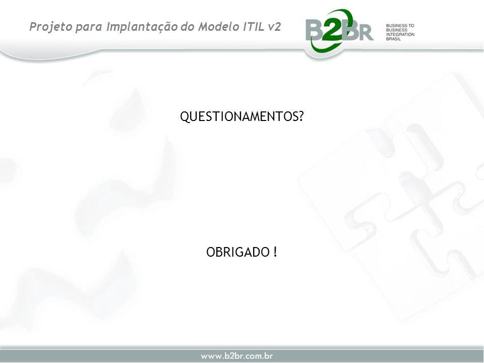 QUESTIONAMENTOS? OBRIGADO ! Projeto para Implantação do Modelo ITIL v2