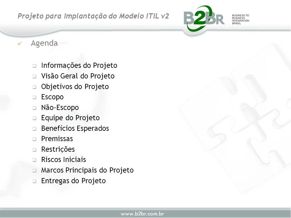 Projeto para Implantação do Modelo ITIL v2 Agenda Informações do Projeto Visão Geral do Projeto Objetivos do Projeto Escopo Não-Escopo Equipe do Proje