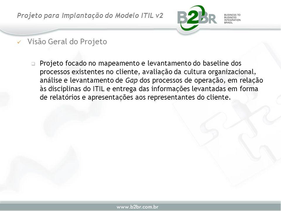 Visão Geral do Projeto Projeto focado no mapeamento e levantamento do baseline dos processos existentes no cliente, avaliação da cultura organizaciona