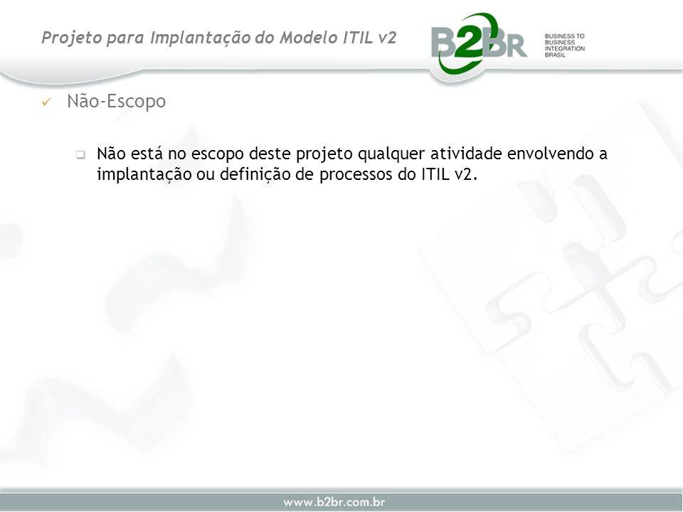 Não-Escopo Não está no escopo deste projeto qualquer atividade envolvendo a implantação ou definição de processos do ITIL v2. Projeto para Implantação