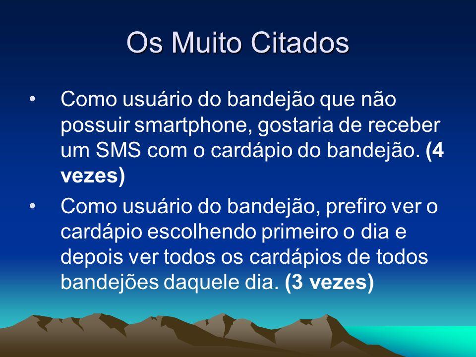 Os Muito Citados Como usuário do bandejão que não possuir smartphone, gostaria de receber um SMS com o cardápio do bandejão. (4 vezes) Como usuário do