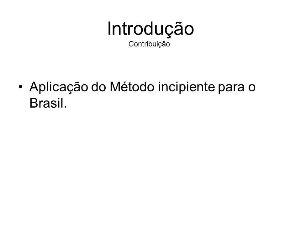 Introdução Aplicação do Método incipiente para o Brasil. Contribuição