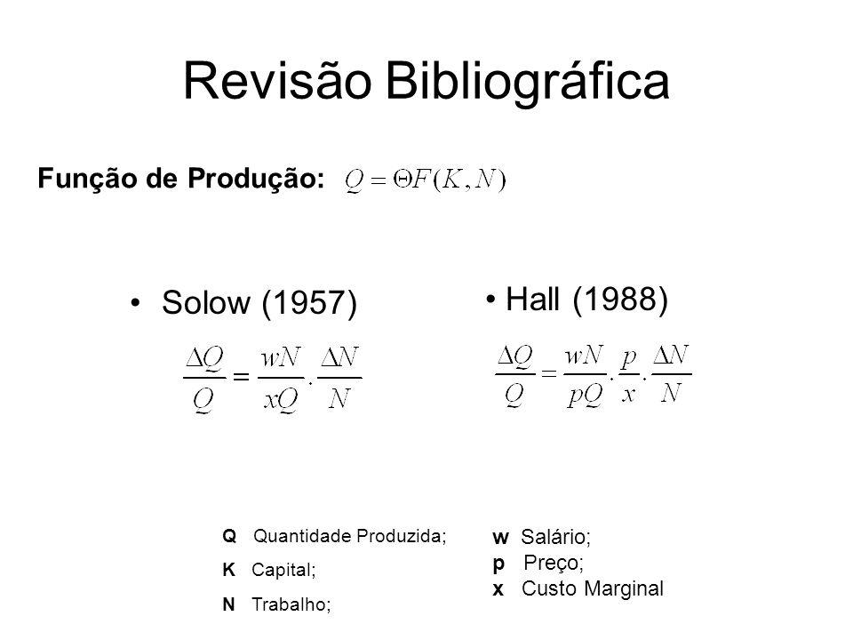 Revisão Bibliográfica Solow (1957) Função de Produção: Q Quantidade Produzida; K Capital; N Trabalho;. w Salário; p Preço; x Custo Marginal Hall (1988