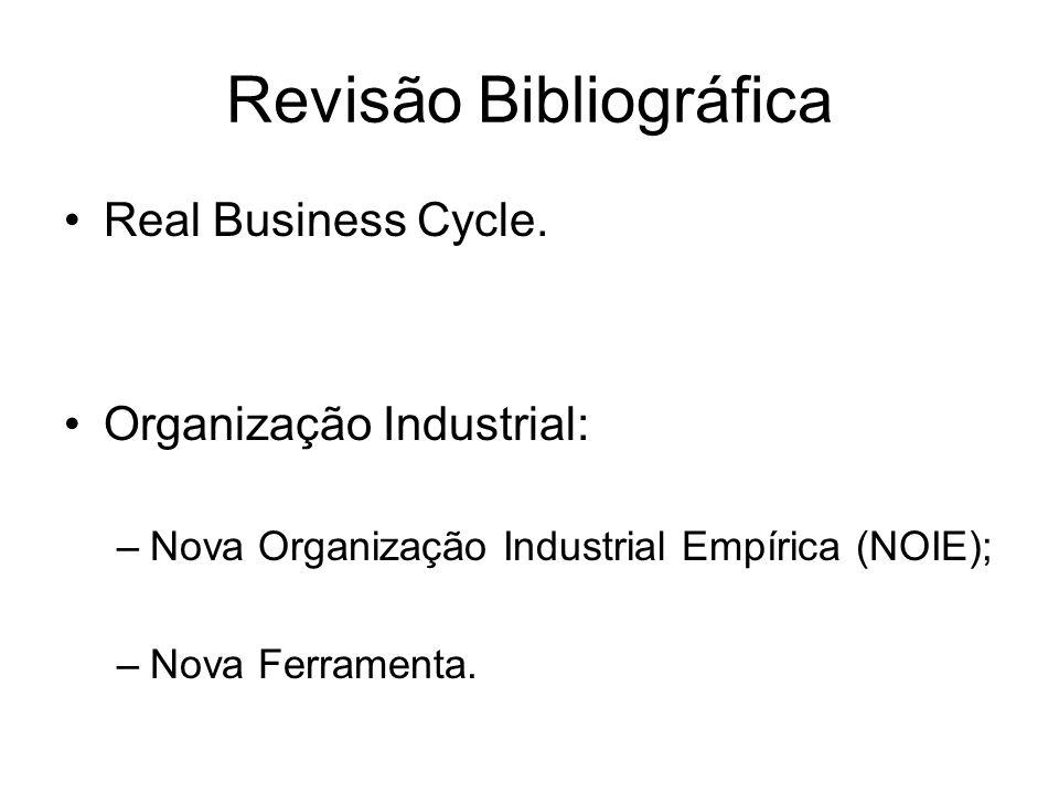 Revisão Bibliográfica Real Business Cycle. Organização Industrial: –Nova Organização Industrial Empírica (NOIE); –Nova Ferramenta.