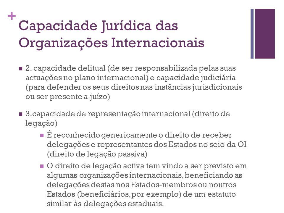 + Capacidade Jurídica das Organizações Internacionais 2. capacidade delitual (de ser responsabilizada pelas suas actuações no plano internacional) e c